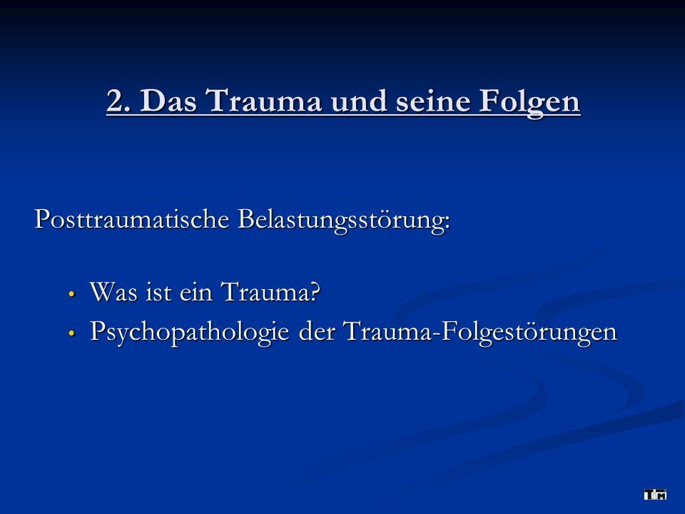 2.Das Trauma und seine Folgen Posttraumatische Belastungsstörung: Was ist ein Trauma.