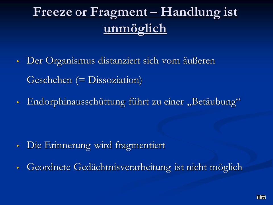 Freeze or Fragment – Handlung ist unmöglich Der Organismus distanziert sich vom äußeren Geschehen (= Dissoziation) Der Organismus distanziert sich vom äußeren Geschehen (= Dissoziation) Endorphinausschüttung führt zu einer Betäubung Endorphinausschüttung führt zu einer Betäubung Die Erinnerung wird fragmentiert Die Erinnerung wird fragmentiert Geordnete Gedächtnisverarbeitung ist nicht möglich Geordnete Gedächtnisverarbeitung ist nicht möglich