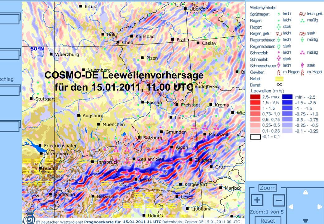 Abteilung Flugmeteorologie 02 - 2009 © DWD COSMO-DE Leewellenvorhersage für den 15.01.2011, 11.00 UTC