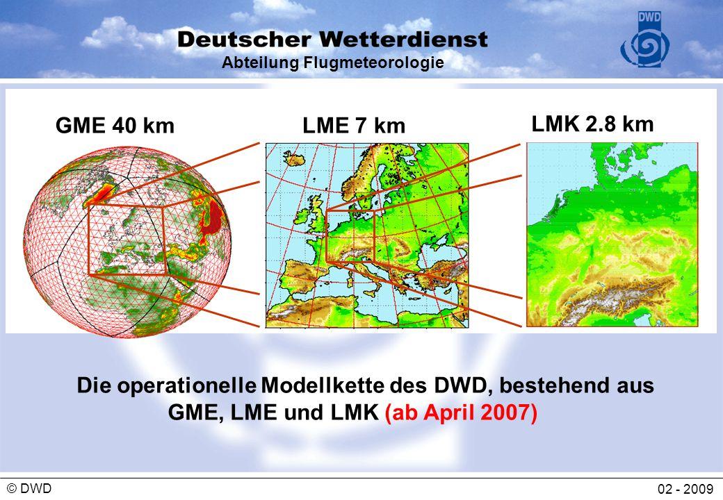 Abteilung Flugmeteorologie 02 - 2009 © DWD LME 7 kmGME 40 km LMK 2.8 km Die operationelle Modellkette des DWD, bestehend aus GME, LME und LMK (ab Apri