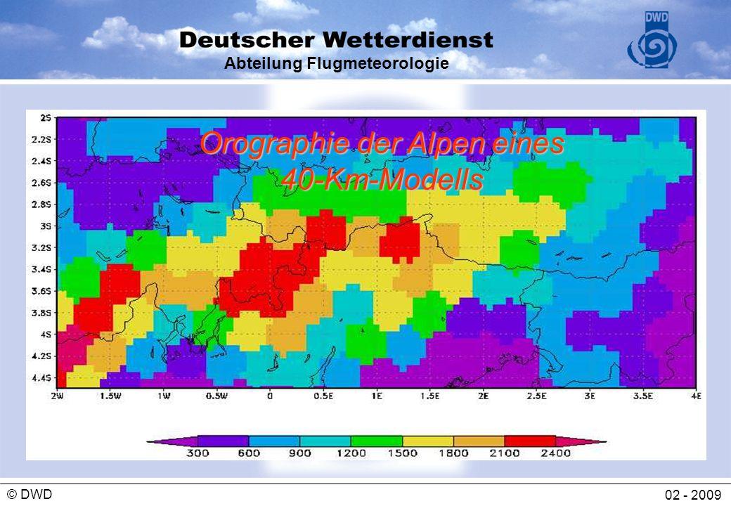 Abteilung Flugmeteorologie 02 - 2009 © DWD Orographie der Alpen eines 40-Km-Modells
