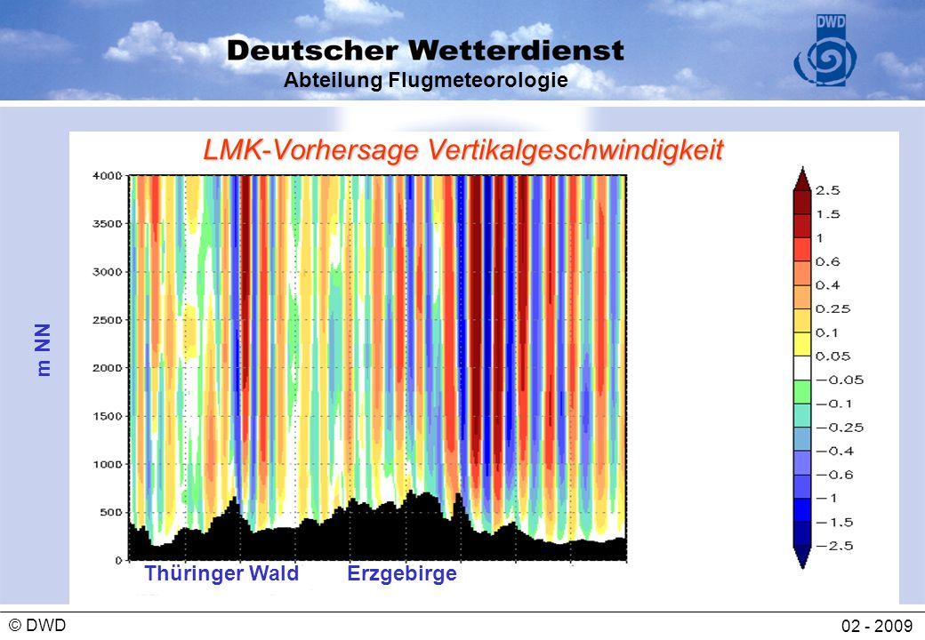 Abteilung Flugmeteorologie 02 - 2009 © DWD LMK-Vorhersage Vertikalgeschwindigkeit m NN Thüringer WaldErzgebirge