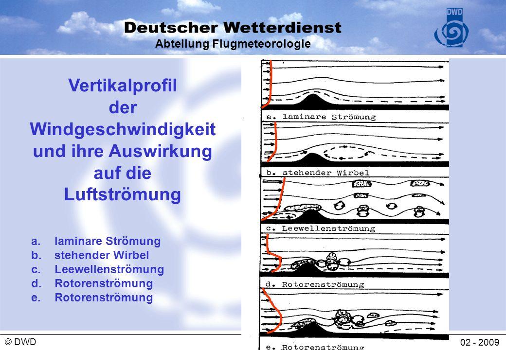 Abteilung Flugmeteorologie 02 - 2009 © DWD Vertikalprofil der Windgeschwindigkeit und ihre Auswirkung auf die Luftströmung a.laminare Strömung b.stehe