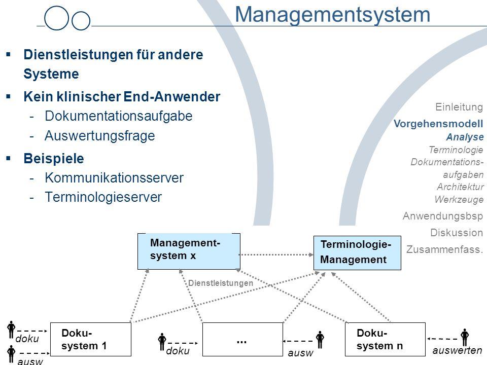 © Uni Heidelberg / Abt. Medizinische Informatik Systematische Planung Petra Knaup Managementsystem Dienstleistungen für andere Systeme Kein klinischer