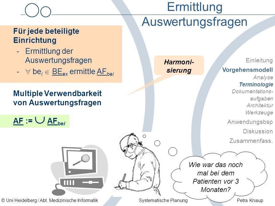 © Uni Heidelberg / Abt. Medizinische Informatik Systematische Planung Petra Knaup Ermittlung Auswertungsfragen Für jede beteiligte Einrichtung -Ermitt