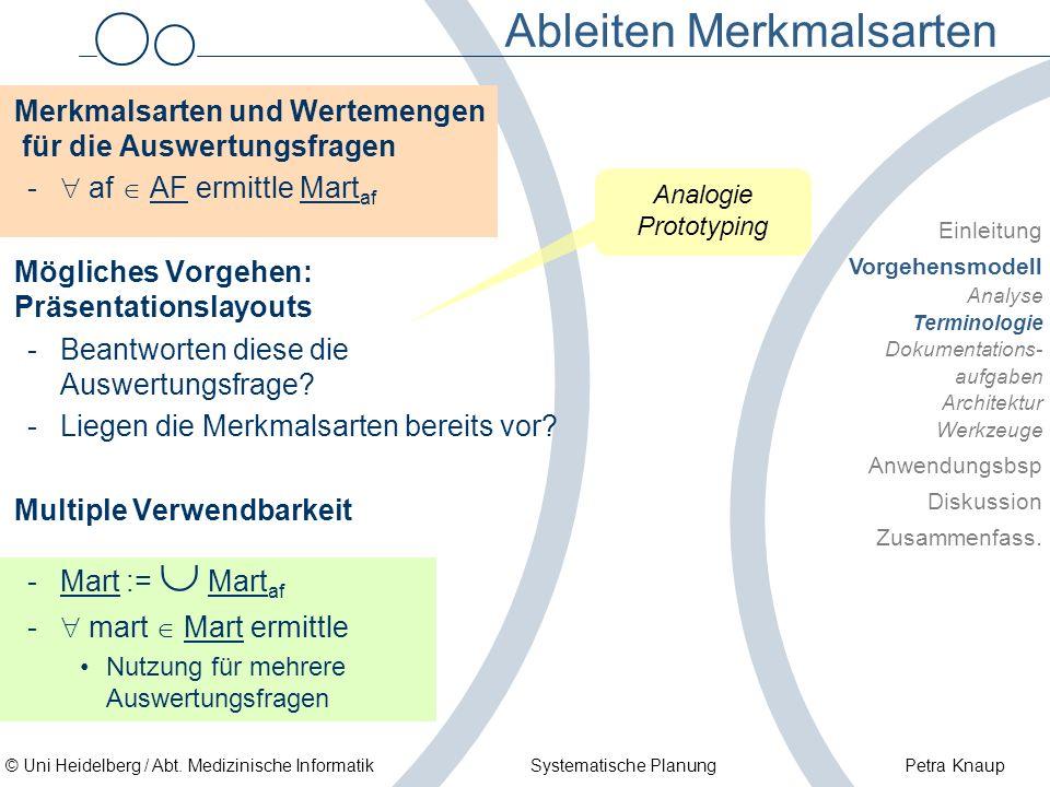 © Uni Heidelberg / Abt. Medizinische Informatik Systematische Planung Petra Knaup Ableiten Merkmalsarten Merkmalsarten und Wertemengen für die Auswert