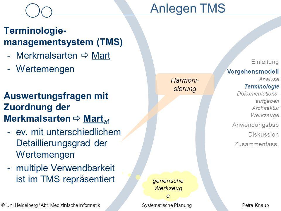 © Uni Heidelberg / Abt. Medizinische Informatik Systematische Planung Petra Knaup Anlegen TMS Terminologie- managementsystem (TMS) -Merkmalsarten Mart