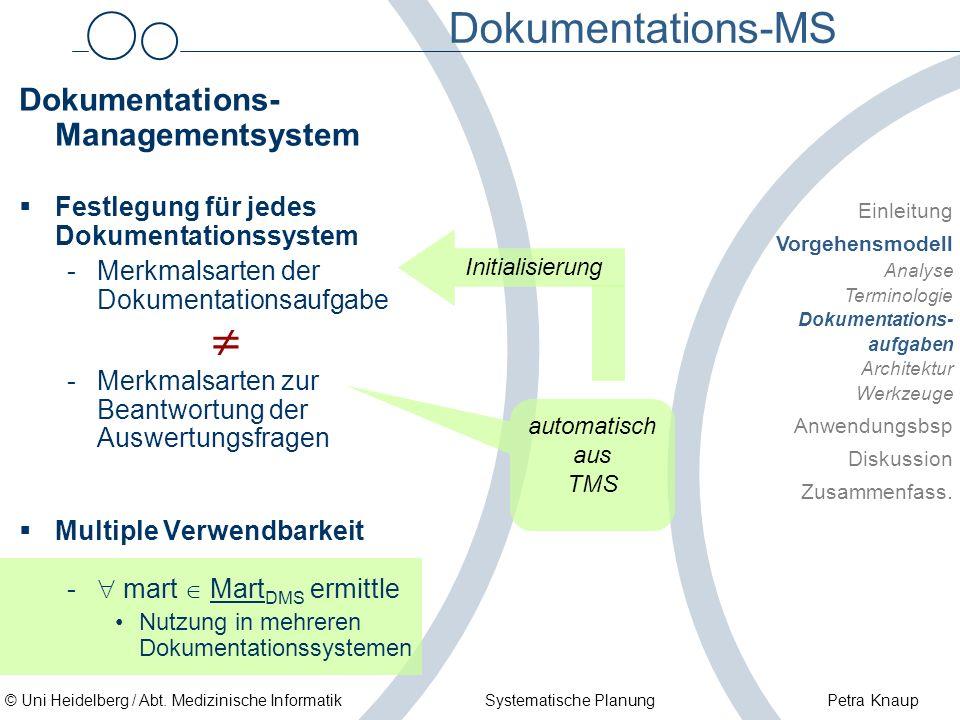 © Uni Heidelberg / Abt. Medizinische Informatik Systematische Planung Petra Knaup Dokumentations-MS Dokumentations- Managementsystem Festlegung für je