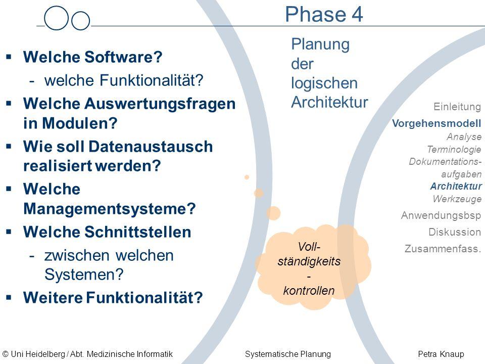 © Uni Heidelberg / Abt. Medizinische Informatik Systematische Planung Petra Knaup Phase 4 Welche Software? -welche Funktionalität? Welche Auswertungsf