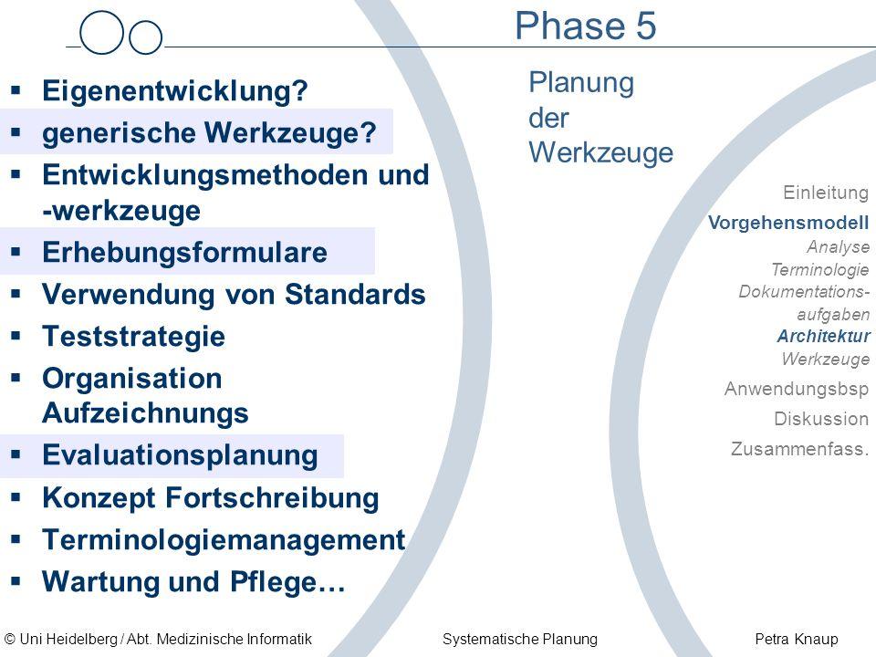 © Uni Heidelberg / Abt. Medizinische Informatik Systematische Planung Petra Knaup Phase 5 Planung der Werkzeuge Einleitung Vorgehensmodell Analyse Ter