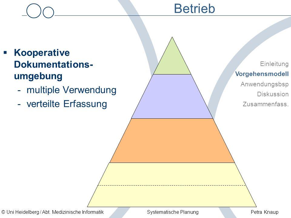 © Uni Heidelberg / Abt. Medizinische Informatik Systematische Planung Petra Knaup Betrieb Kooperative Dokumentations- umgebung -multiple Verwendung -v