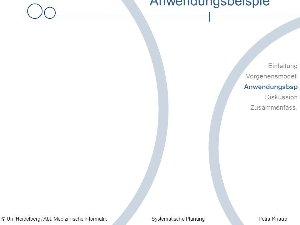 © Uni Heidelberg / Abt. Medizinische Informatik Systematische Planung Petra Knaup Anwendungsbeispie l Einleitung Vorgehensmodell Anwendungsbsp Diskuss