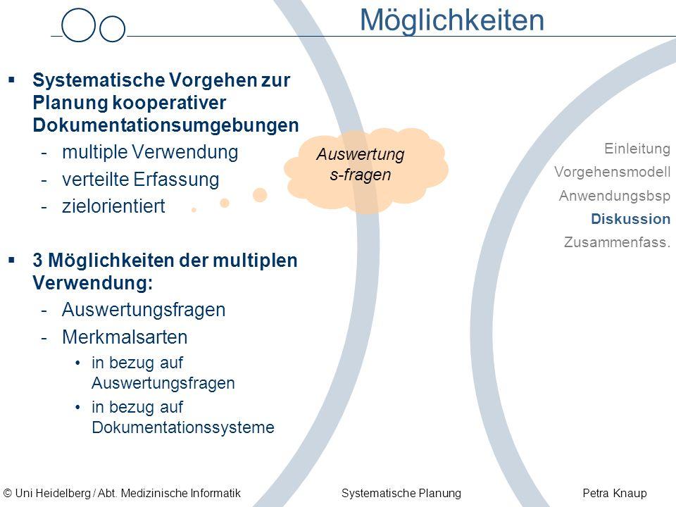 © Uni Heidelberg / Abt. Medizinische Informatik Systematische Planung Petra Knaup Möglichkeiten Systematische Vorgehen zur Planung kooperativer Dokume