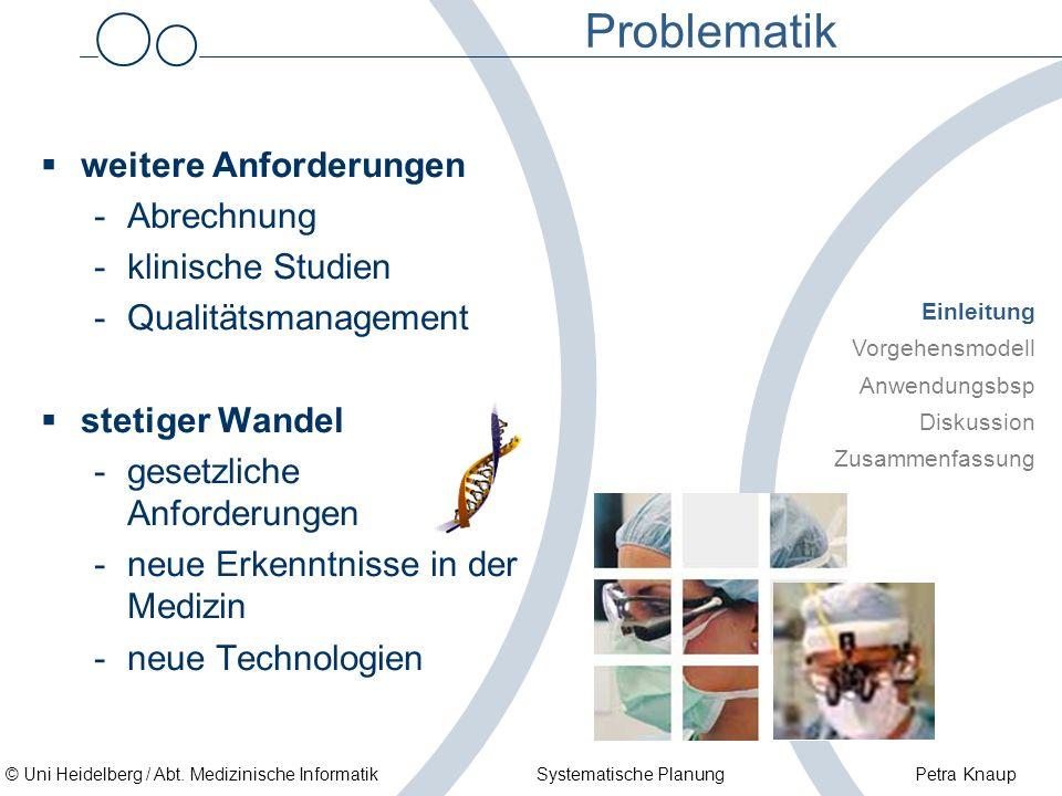 © Uni Heidelberg / Abt. Medizinische Informatik Systematische Planung Petra Knaup Problematik weitere Anforderungen -Abrechnung -klinische Studien -Qu