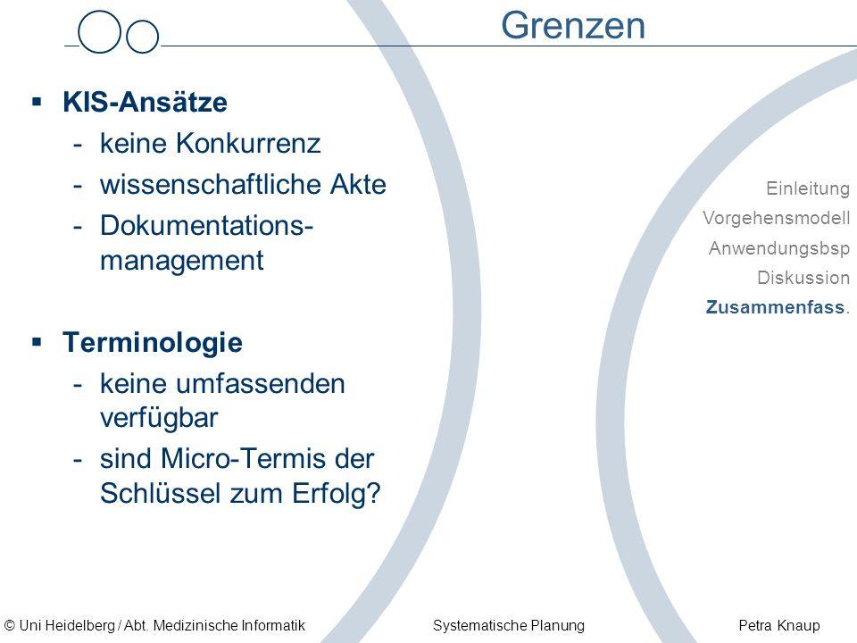© Uni Heidelberg / Abt. Medizinische Informatik Systematische Planung Petra Knaup Grenzen KIS-Ansätze -keine Konkurrenz -wissenschaftliche Akte -Dokum