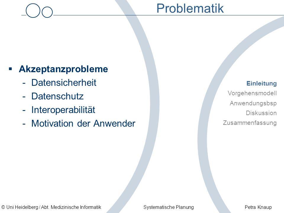 © Uni Heidelberg / Abt. Medizinische Informatik Systematische Planung Petra Knaup Problematik Akzeptanzprobleme -Datensicherheit -Datenschutz -Interop