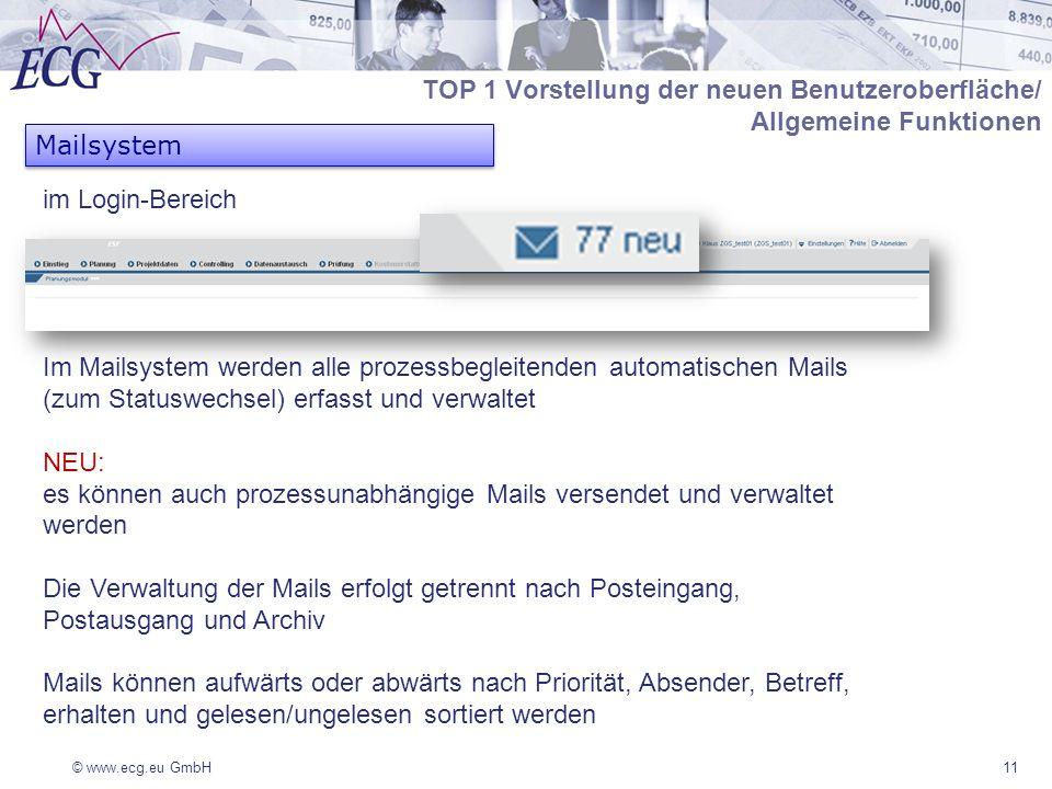 © www.ecg.eu GmbH11 Mailsystem Im Mailsystem werden alle prozessbegleitenden automatischen Mails (zum Statuswechsel) erfasst und verwaltet NEU: es können auch prozessunabhängige Mails versendet und verwaltet werden Die Verwaltung der Mails erfolgt getrennt nach Posteingang, Postausgang und Archiv Mails können aufwärts oder abwärts nach Priorität, Absender, Betreff, erhalten und gelesen/ungelesen sortiert werden TOP 1 Vorstellung der neuen Benutzeroberfläche/ Allgemeine Funktionen im Login-Bereich