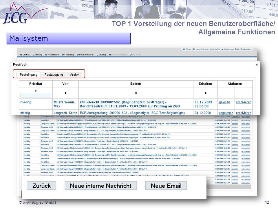 © www.ecg.eu GmbH12 Mailsystem TOP 1 Vorstellung der neuen Benutzeroberfläche/ Allgemeine Funktionen