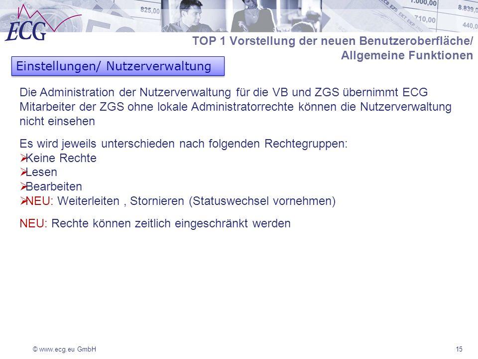 © www.ecg.eu GmbH15 Einstellungen/ Nutzerverwaltung Die Administration der Nutzerverwaltung für die VB und ZGS übernimmt ECG Mitarbeiter der ZGS ohne