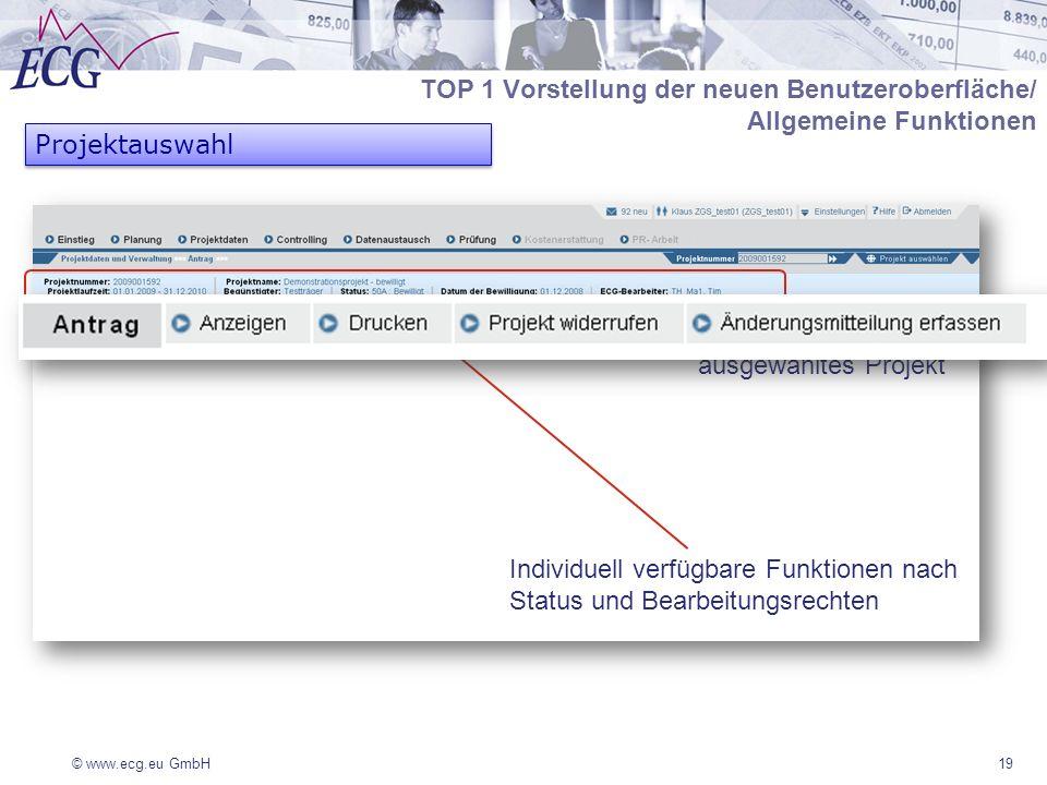 © www.ecg.eu GmbH19 Projektauswahl TOP 1 Vorstellung der neuen Benutzeroberfläche/ Allgemeine Funktionen Individuell verfügbare Funktionen nach Status und Bearbeitungsrechten ausgewähltes Projekt