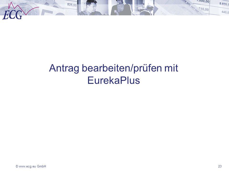 © www.ecg.eu GmbH23 Antrag bearbeiten/prüfen mit EurekaPlus