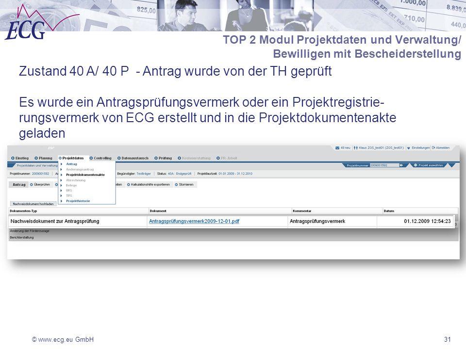 © www.ecg.eu GmbH31 TOP 2 Modul Projektdaten und Verwaltung/ Bewilligen mit Bescheiderstellung Zustand 40 A/ 40 P - Antrag wurde von der TH geprüft Es wurde ein Antragsprüfungsvermerk oder ein Projektregistrie- rungsvermerk von ECG erstellt und in die Projektdokumentenakte geladen