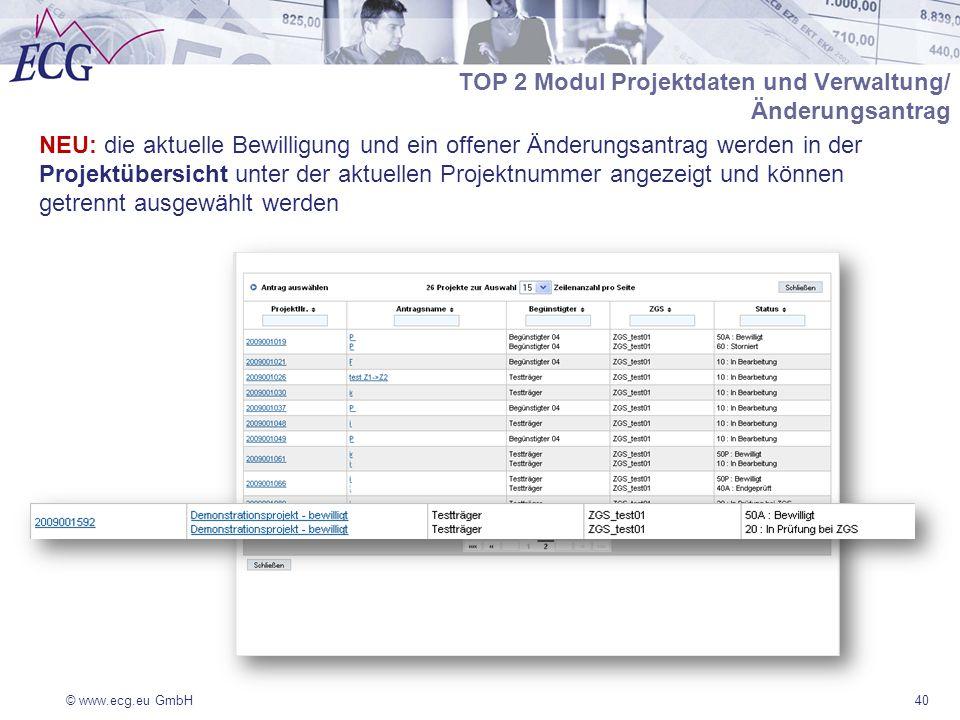 © www.ecg.eu GmbH40 TOP 2 Modul Projektdaten und Verwaltung/ Änderungsantrag NEU: die aktuelle Bewilligung und ein offener Änderungsantrag werden in der Projektübersicht unter der aktuellen Projektnummer angezeigt und können getrennt ausgewählt werden