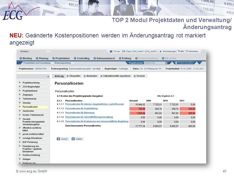 © www.ecg.eu GmbH41 NEU: Geänderte Kostenpositionen werden im Änderungsantrag rot markiert angezeigt TOP 2 Modul Projektdaten und Verwaltung/ Änderungsantrag