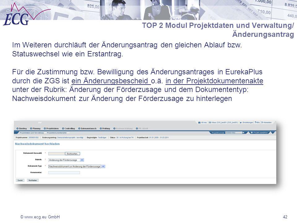 © www.ecg.eu GmbH42 TOP 2 Modul Projektdaten und Verwaltung/ Änderungsantrag Im Weiteren durchläuft der Änderungsantrag den gleichen Ablauf bzw.