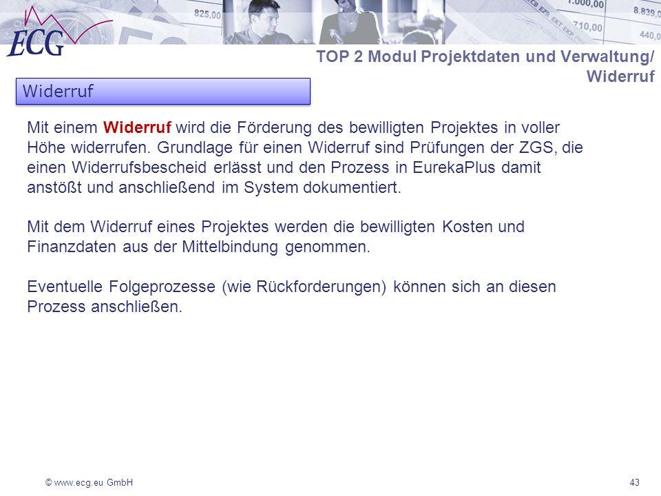 © www.ecg.eu GmbH43 Mit einem Widerruf wird die Förderung des bewilligten Projektes in voller Höhe widerrufen. Grundlage für einen Widerruf sind Prüfu