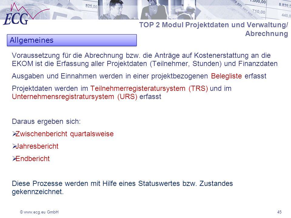 © www.ecg.eu GmbH Voraussetzung für die Abrechnung bzw. die Anträge auf Kostenerstattung an die EKOM ist die Erfassung aller Projektdaten (Teilnehmer,