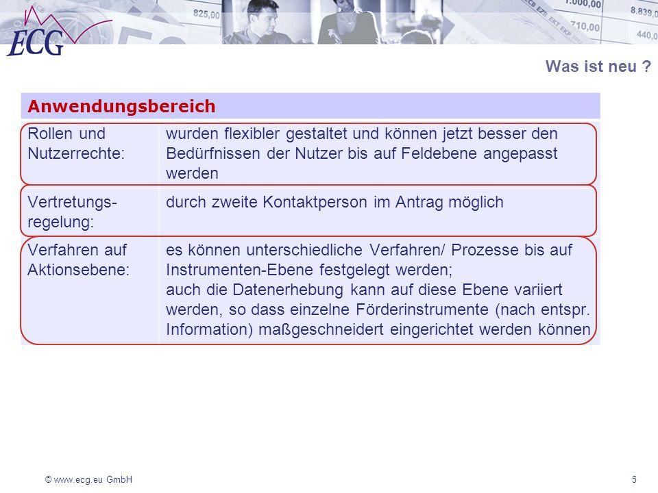 © www.ecg.eu GmbH36 Eine Änderungsmitteilung ist formgebunden über das System abzugeben, wenn sich die Angaben zum Begünstigten oder ZGS ändern dient der Information bedarf keiner aktiven Zustimmung wird in der Projekthistorie dokumentiert TOP 2 Modul Projektdaten und Verwaltung/ Änderungsmitteilung