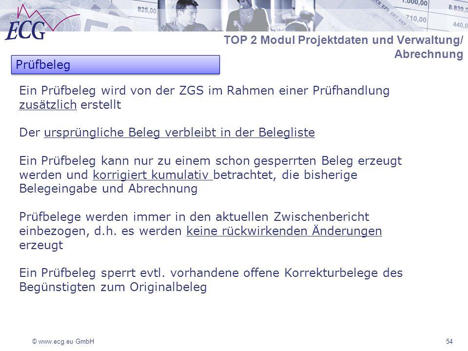 © www.ecg.eu GmbH54 Ein Prüfbeleg wird von der ZGS im Rahmen einer Prüfhandlung zusätzlich erstellt Der ursprüngliche Beleg verbleibt in der Belegliste Ein Prüfbeleg kann nur zu einem schon gesperrten Beleg erzeugt werden und korrigiert kumulativ betrachtet, die bisherige Belegeingabe und Abrechnung Prüfbelege werden immer in den aktuellen Zwischenbericht einbezogen, d.h.