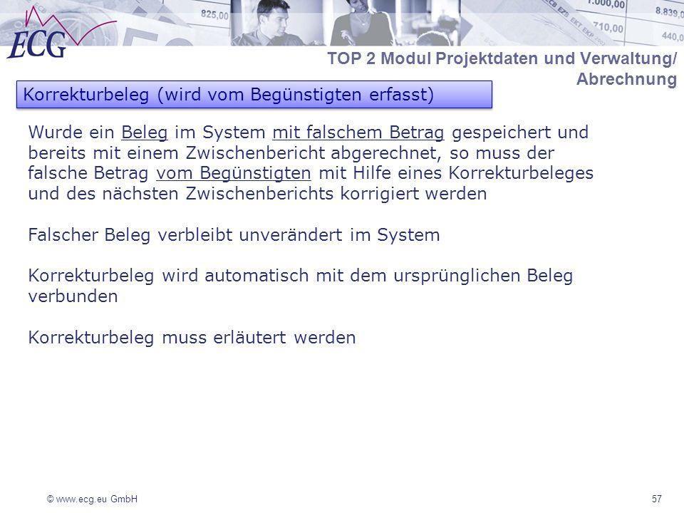 © www.ecg.eu GmbH57 Korrekturbeleg (wird vom Begünstigten erfasst) Wurde ein Beleg im System mit falschem Betrag gespeichert und bereits mit einem Zwischenbericht abgerechnet, so muss der falsche Betrag vom Begünstigten mit Hilfe eines Korrekturbeleges und des nächsten Zwischenberichts korrigiert werden Falscher Beleg verbleibt unverändert im System Korrekturbeleg wird automatisch mit dem ursprünglichen Beleg verbunden Korrekturbeleg muss erläutert werden TOP 2 Modul Projektdaten und Verwaltung/ Abrechnung
