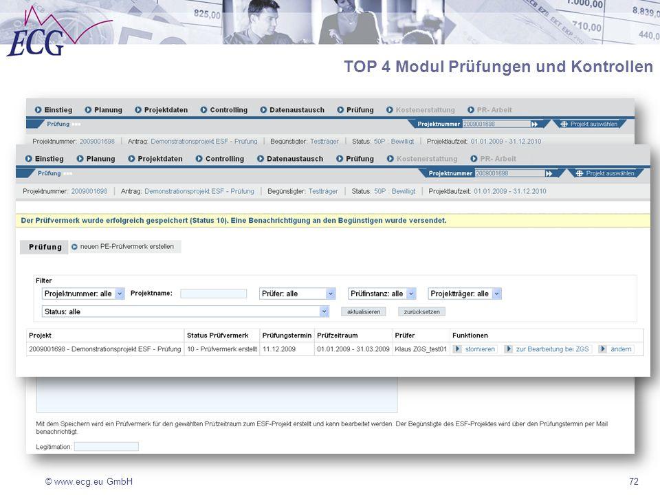 © www.ecg.eu GmbH72 TOP 4 Modul Prüfungen und Kontrollen