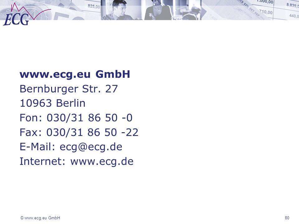 © www.ecg.eu GmbH80 www.ecg.eu GmbH Bernburger Str. 27 10963 Berlin Fon: 030/31 86 50 -0 Fax: 030/31 86 50 -22 E-Mail: ecg@ecg.de Internet: www.ecg.de