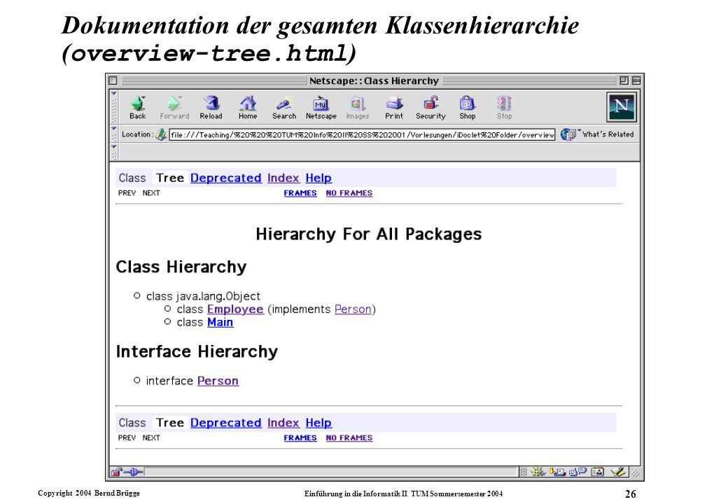 Copyright 2004 Bernd Brügge Einführung in die Informatik II TUM Sommersemester 2004 26 Dokumentation der gesamten Klassenhierarchie ( overview-tree.ht