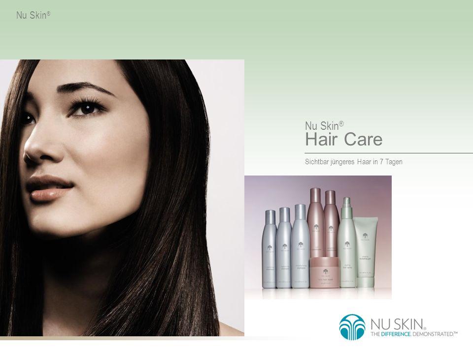 Nu Skin ® Hair Care Sichtbar jüngeres Haar in 7 Tagen Nu Skin ® Nu Skin ® Hair Care Das nach modernen wissenschaftlichen Erkenntnissen entwickelte Drei-Phasen- System kräftigt den Cortex, repariert das Haar und schützt die Cuticula.