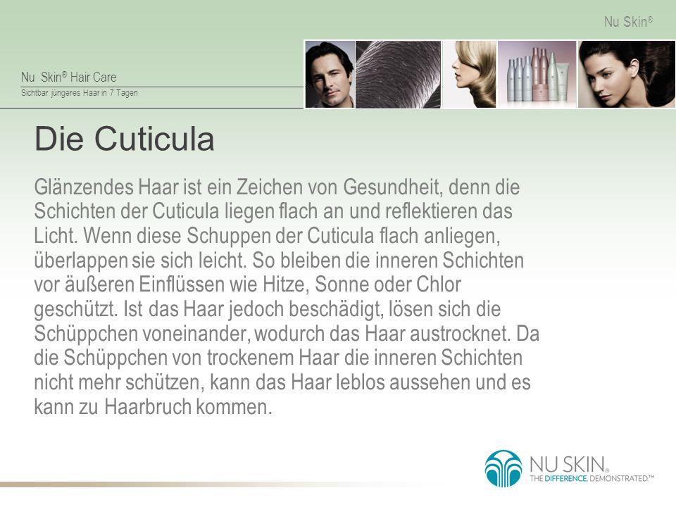 Nu Skin ® Hair Care Sichtbar jüngeres Haar in 7 Tagen Nu Skin ® Die Cuticula Glänzendes Haar ist ein Zeichen von Gesundheit, denn die Schichten der Cuticula liegen flach an und reflektieren das Licht.