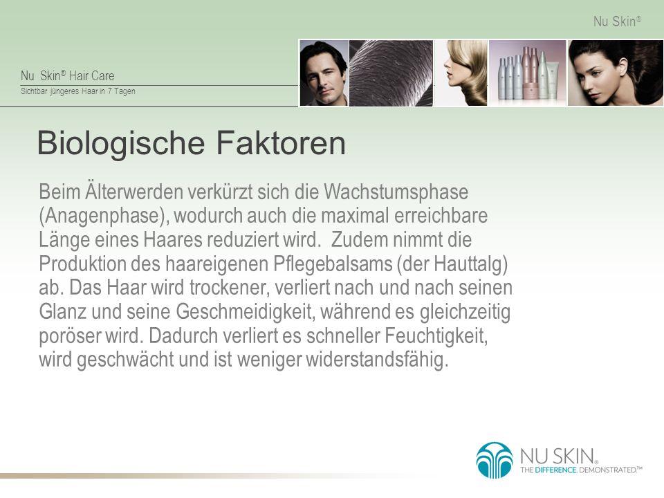 Nu Skin ® Hair Care Sichtbar jüngeres Haar in 7 Tagen Nu Skin ® Biologische Faktoren Beim Älterwerden verkürzt sich die Wachstumsphase (Anagenphase), wodurch auch die maximal erreichbare Länge eines Haares reduziert wird.