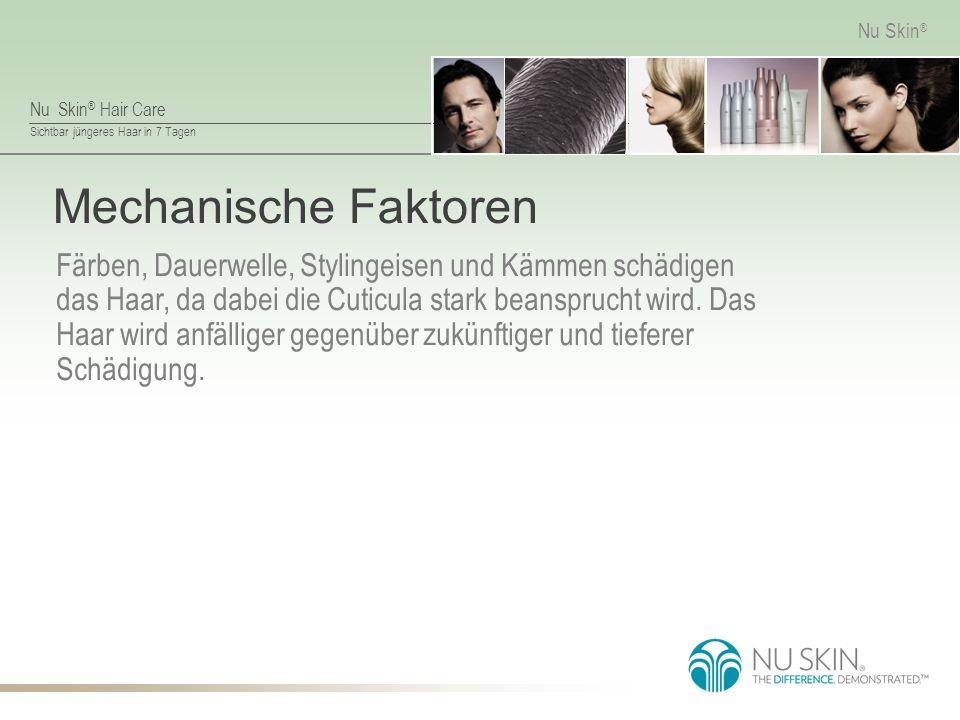 Nu Skin ® Hair Care Sichtbar jüngeres Haar in 7 Tagen Nu Skin ® Mechanische Faktoren Färben, Dauerwelle, Stylingeisen und Kämmen schädigen das Haar, da dabei die Cuticula stark beansprucht wird.