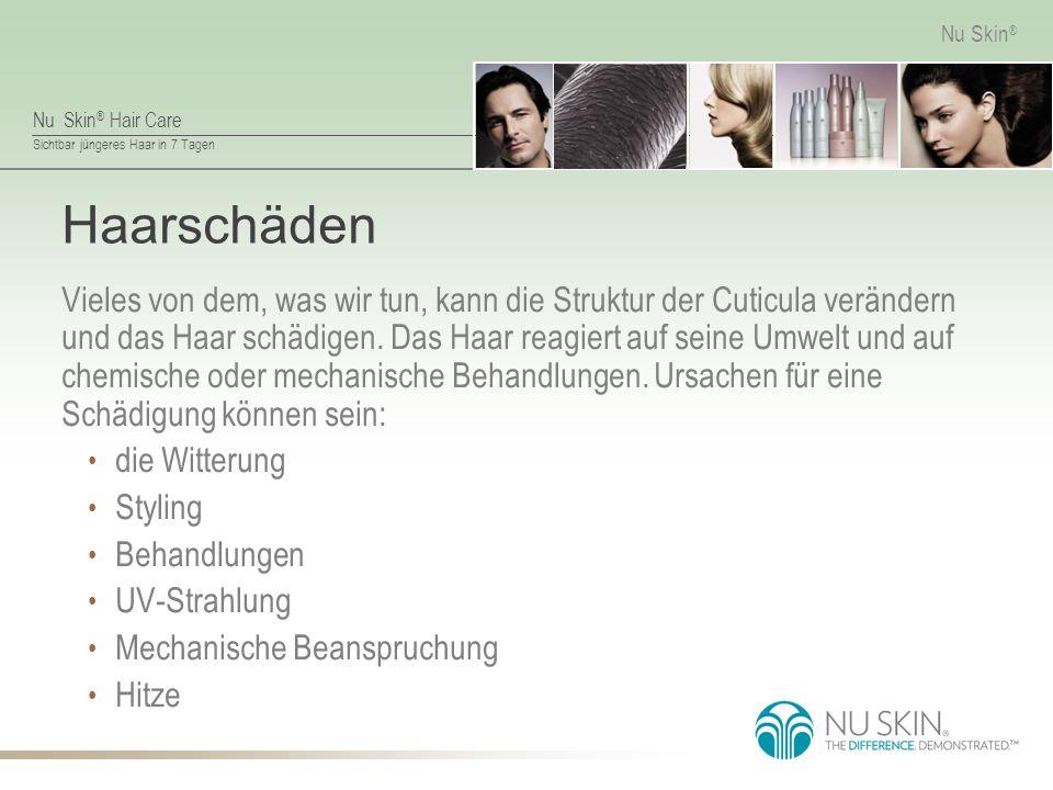 Nu Skin ® Hair Care Sichtbar jüngeres Haar in 7 Tagen Nu Skin ® Haarschäden Vieles von dem, was wir tun, kann die Struktur der Cuticula verändern und das Haar schädigen.