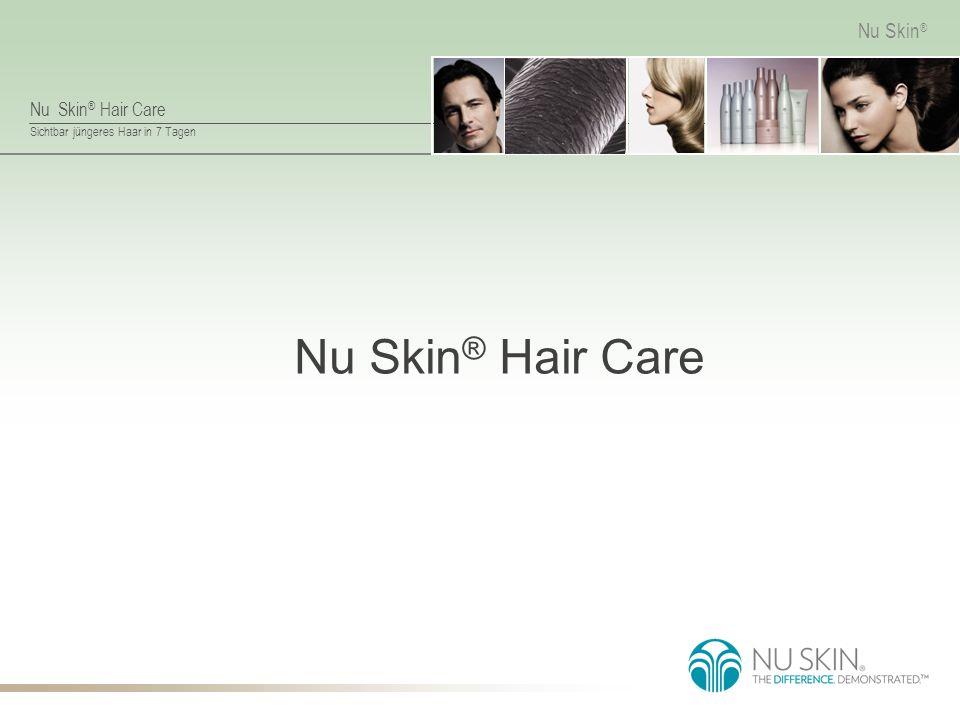 Nu Skin ® Hair Care Sichtbar jüngeres Haar in 7 Tagen Nu Skin ® 7-tägige Anwendung von Nu Skin ® Hair Care Sichtbare Verbesserung Anwendung als sehr angenehm empfunden System für trockenes Haar System für normales bis trockenes Haar Kombination aus beiden Systemen % der Teilnehmer