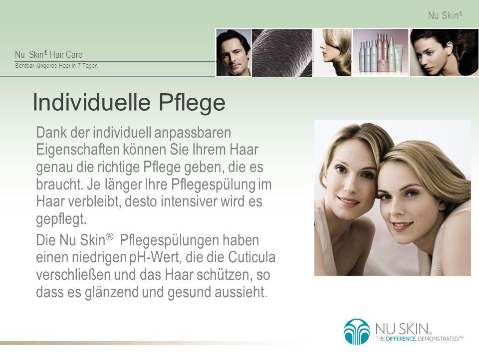 Nu Skin ® Hair Care Sichtbar jüngeres Haar in 7 Tagen Nu Skin ® Individuelle Pflege Dank der individuell anpassbaren Eigenschaften können Sie Ihrem Haar genau die richtige Pflege geben, die es braucht.