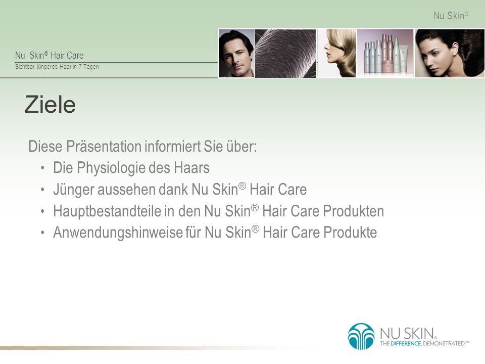 Nu Skin ® Hair Care Sichtbar jüngeres Haar in 7 Tagen Nu Skin ® Umweltfaktoren Durch Sonne, Chlor, Schwermetalle, Nikotin und Abgase wird die Cuticula angegriffen und geschädigt, der darunterliegende Cortex verliert seinen Schutz und wird abgenutzt, das Haar kann brechen.