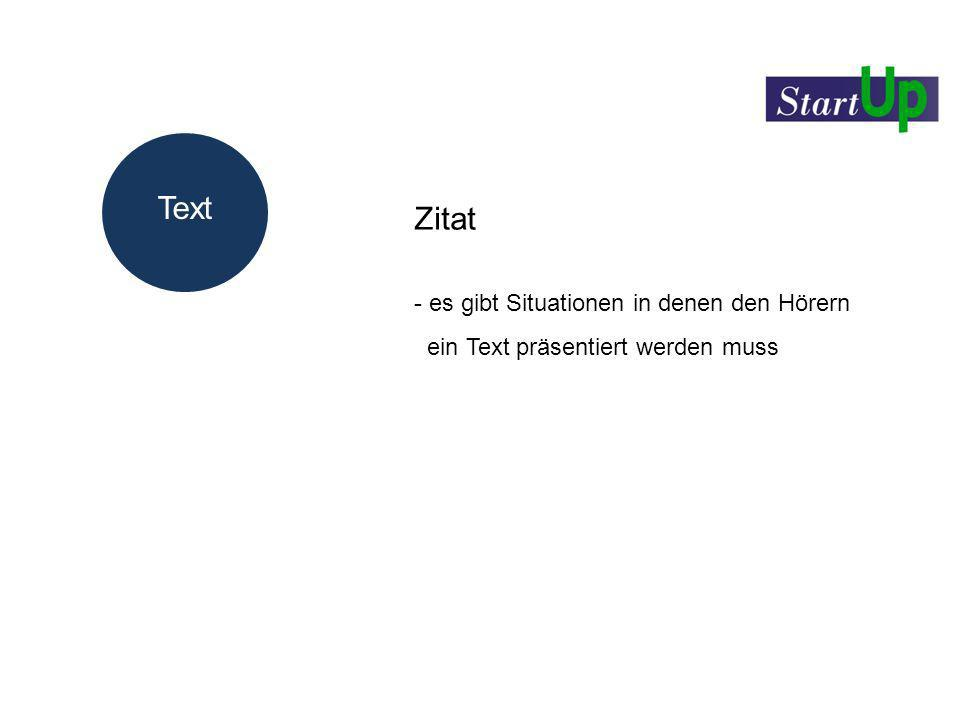 Text Zitat - es gibt Situationen in denen den Hörern ein Text präsentiert werden muss Text