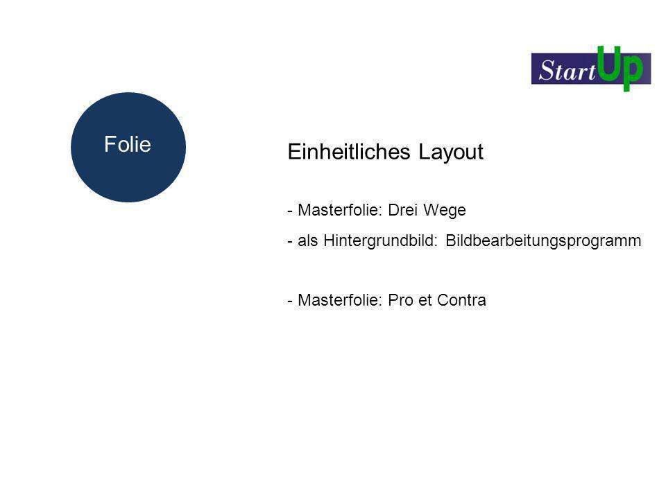 Folie Einheitliches Layout - Masterfolie: Drei Wege - als Hintergrundbild: Bildbearbeitungsprogramm - Masterfolie: Pro et Contra