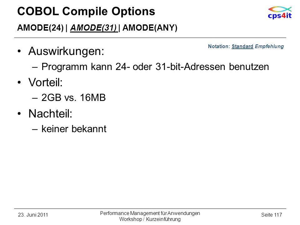 COBOL Compile Options AMODE(24) | AMODE(31) | AMODE(ANY) Auswirkungen: –Programm kann 24- oder 31-bit-Adressen benutzen Vorteil: –2GB vs. 16MB Nachtei