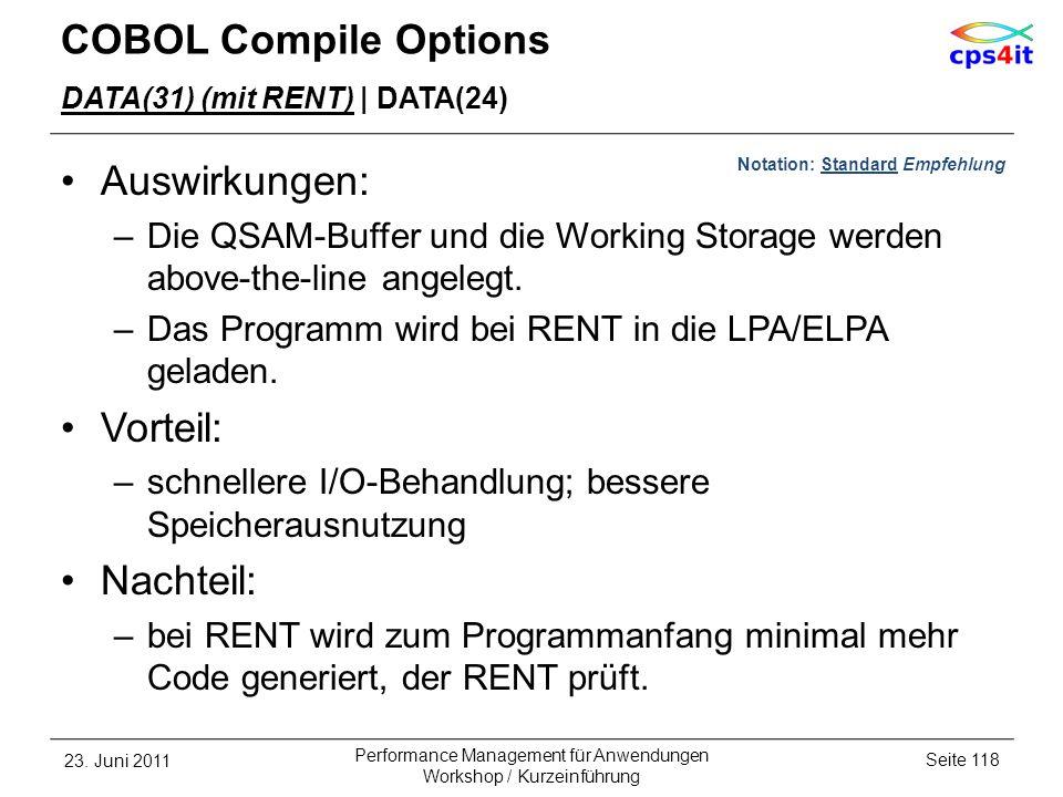 COBOL Compile Options DATA(31) (mit RENT) | DATA(24) Auswirkungen: –Die QSAM-Buffer und die Working Storage werden above-the-line angelegt. –Das Progr
