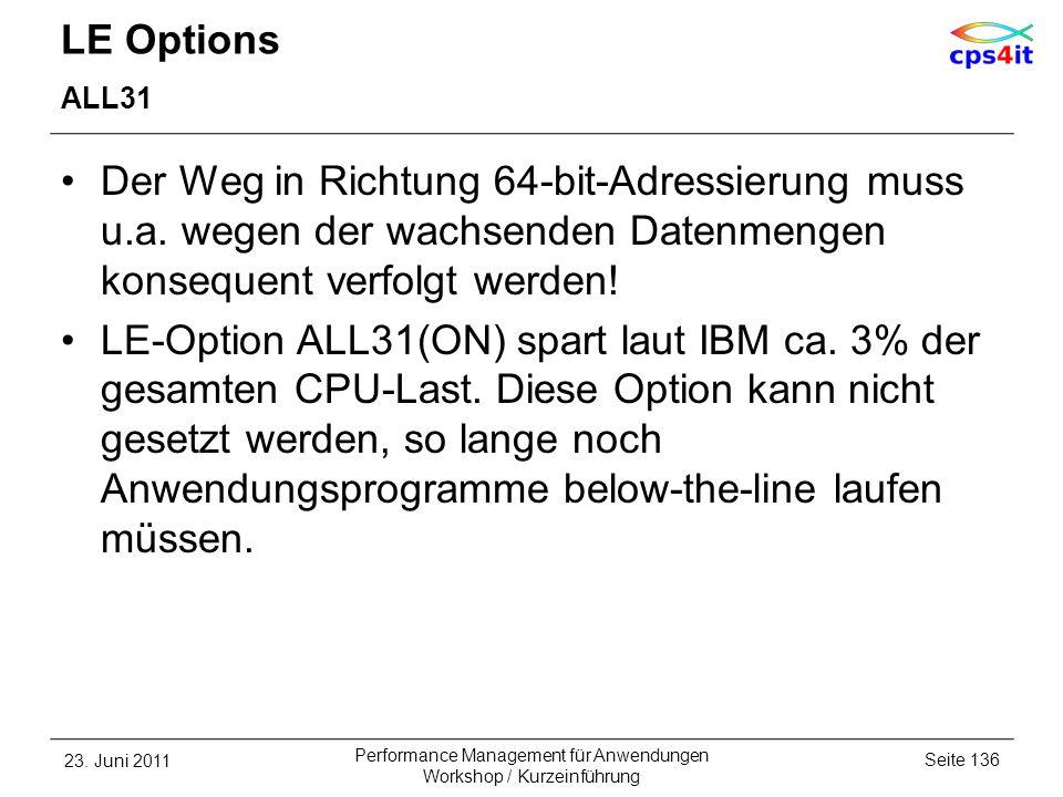 LE Options ALL31 Der Weg in Richtung 64-bit-Adressierung muss u.a. wegen der wachsenden Datenmengen konsequent verfolgt werden! LE-Option ALL31(ON) sp
